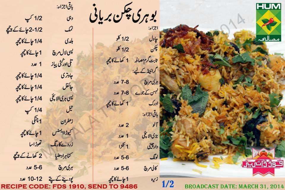 Bohri Chicken Biryani Ingre Nts Rice 1 2 Kg Chicken 1 2 Kg Whole Garam Masala For Boiling Rice 1 Tbsp To Grind Gree