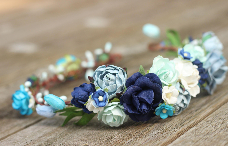 Floral crown navy blue head wreath blue flower crown navy floral crown navy blue head wreath blue flower crown navy wedding ivory bridal hair izmirmasajfo Gallery