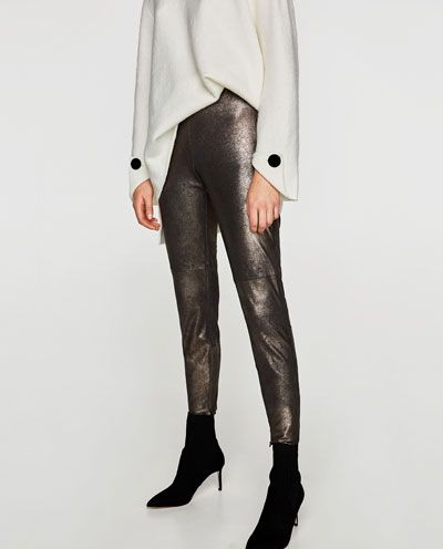 a9d9143d568630 METALLIC FAUX SUEDE LEGGINGS-Leggings-TROUSERS-WOMAN | ZARA United Kingdom