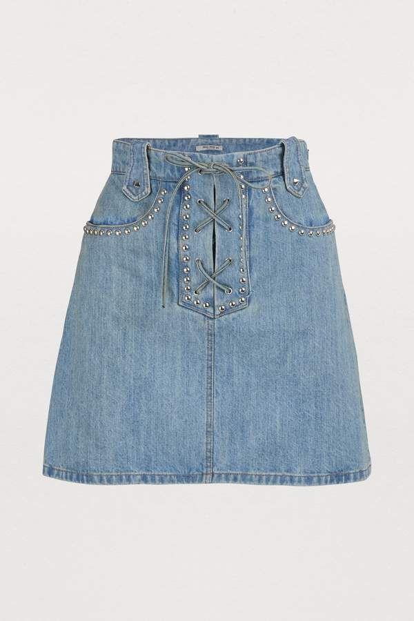 e64383c83 Miu Miu Studded denim skirt in 2019 | Products | Studded denim ...