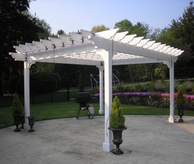 Garden Treasures White Pergola with Luminous Structure - Garden Treasures White Pergola With Luminous Structure Gardens