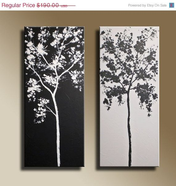 ON SALE 24 x 24 inch Black & White Trees Original by EditVorosArt