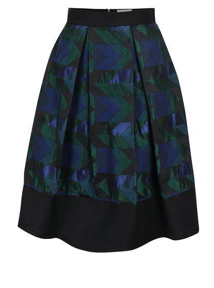 efbf8782bbea Zeleno-čierna vzorovaná áčková sukňa Closet