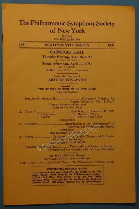 Toscanini Arturo  New York Philharmonic Concert Program