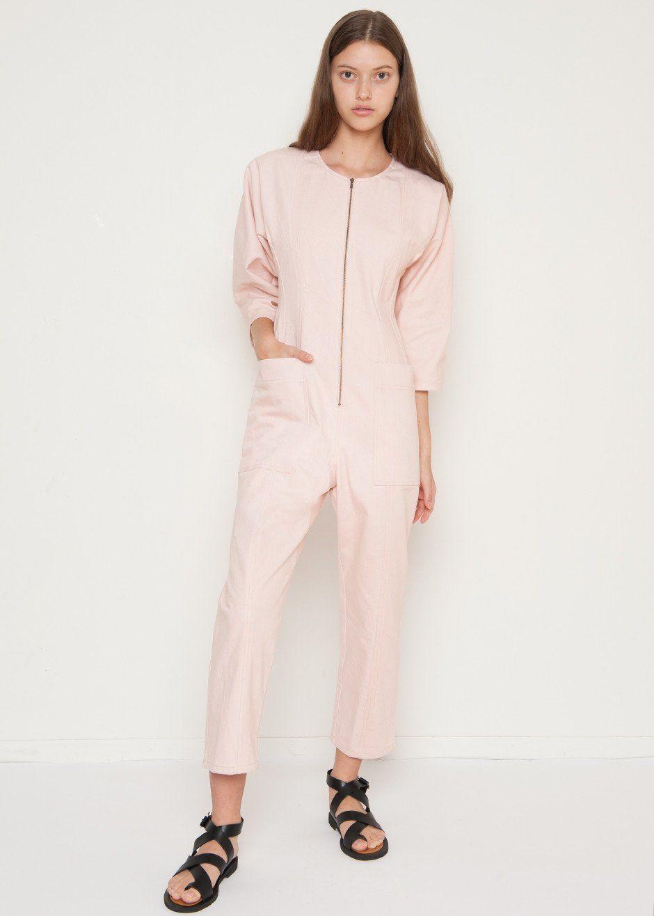 e6fa08f1adb  newarrivals  apieceapart  flamethrower  denim  pink  jumpsuit   thefrankieshop  frankienyc  frankiegirl Pink