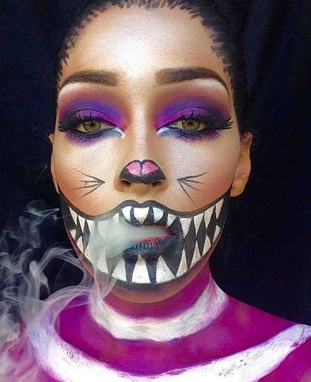"We're all mad here"" Cheshire cat Cat halloween makeup"