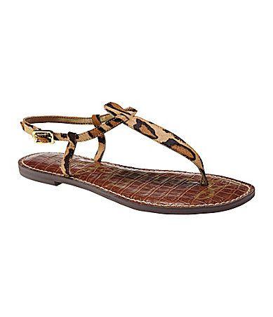 Sam Edelman Gigi Leopard-Print Calf Hair T-Strap Sandals