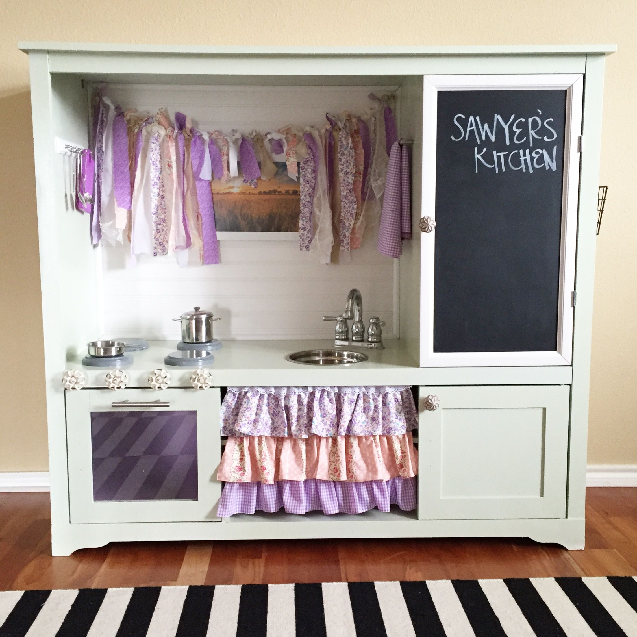 Diy Play Kitchen We Made This From An Old Entertainment