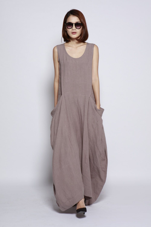 Gray big pockets maxi dress unique loose fitting long