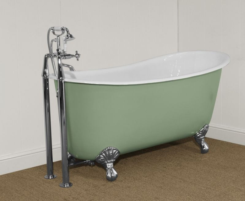 Victorian style cast iron enamelled Lyon slipper bath painted in ...