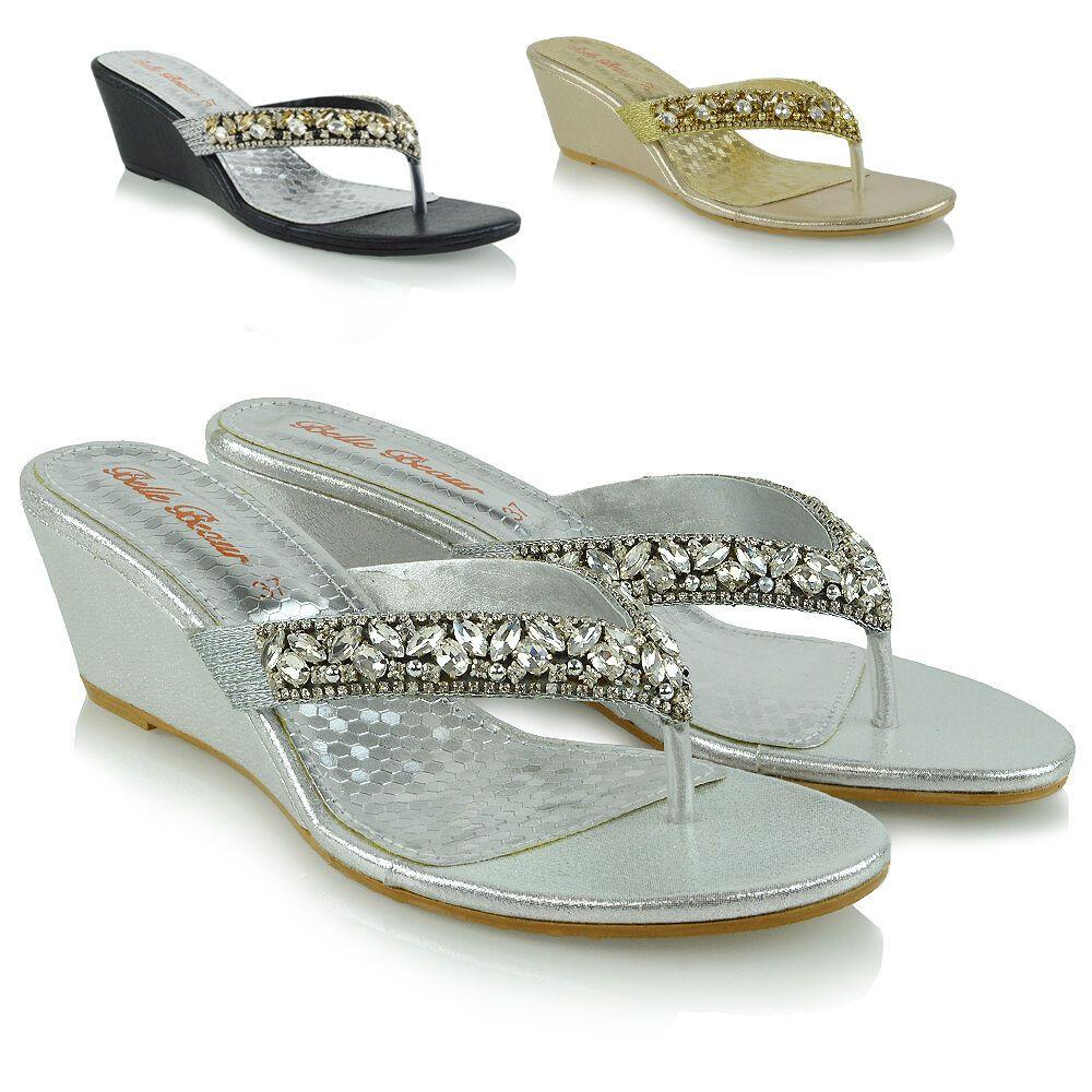 a6ad660c0694 Womens Low Wedge Heel Toe Post Diamante Sandals Ladies Sparkly Flip Flops  3-8