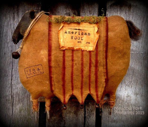 Primitive Folk Art *American Wool* Rag Stuffed Sheep Door Hanger* Americana-Vintage-Farmhouse-Hafair Team by MeadowForkPrims on Etsy