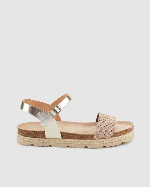 8ca3725d Sandalias planas de mujer Yokono de piel con pala de color oro Sandalias  Zapatos Para Niñas