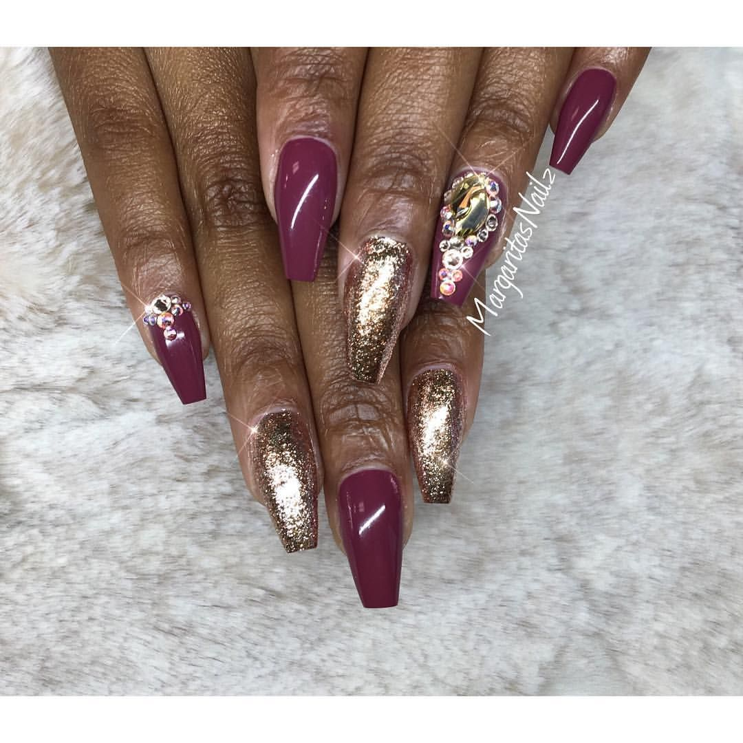 Burgundy and rose gold glitter coffin nails margaritasnailz burgundy and rose gold glitter coffin nails prinsesfo Choice Image