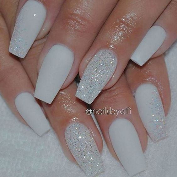 How To Try The White Matte Nails with Diamond Glitter Design | Nails ...