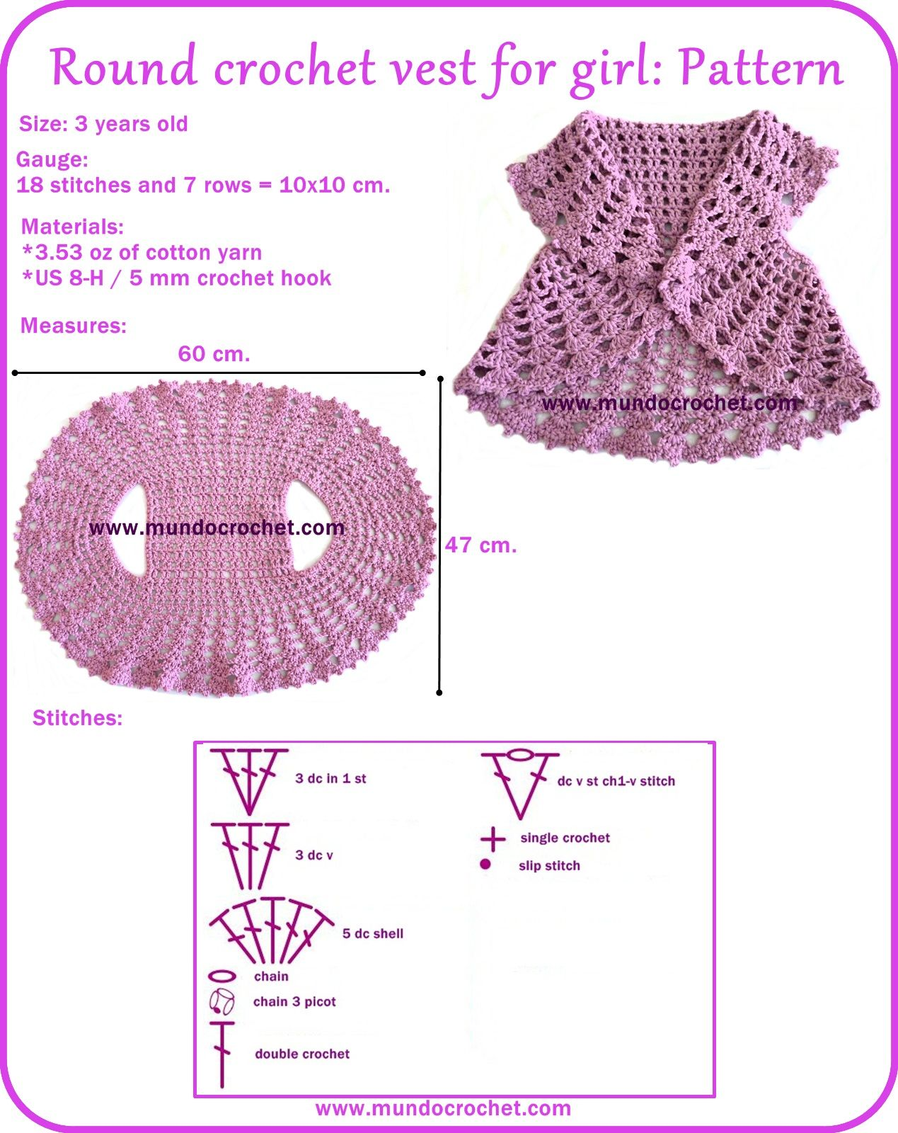 Round crochet vest for girl, FREE PATTERN! TUTORIAL | tejido ...