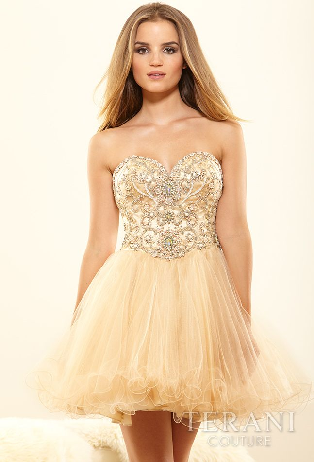 a985334c72 Elegant light beige short strapless prom dress 2014 with beaded corset  bodice and tulle skirt by Terani Couture