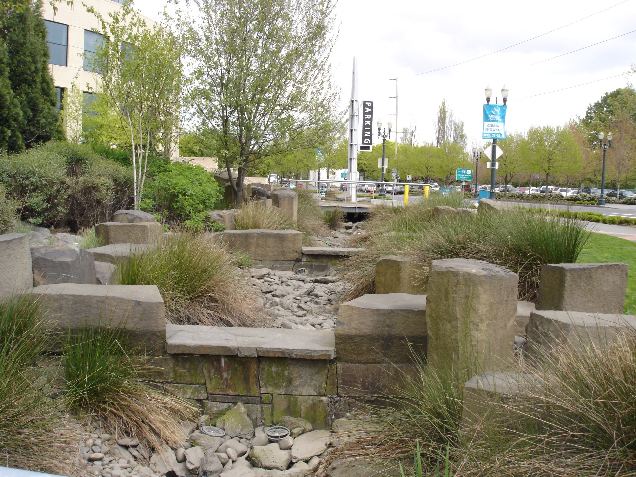 This is the rain garden at the Oregon Convention Center, Portland ...