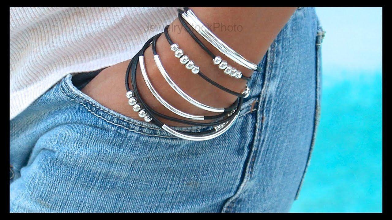 How to Make a Boho Leather Tube Bangle Wrap Bracelet - Step by Step DIY Tutorial…