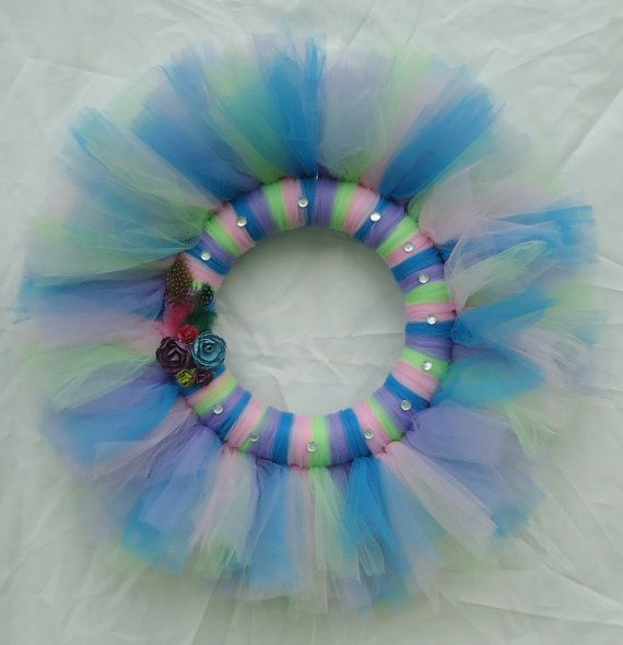 Multi Colored Tulle Wreath by FamilyCraftingCorner on Etsy, $25.00