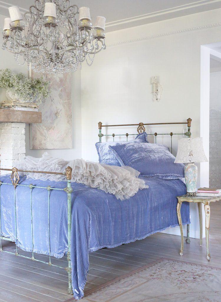 Silk velvet coverlet indigo in 2019 shabby chic - Simply shabby chic bedroom furniture ...