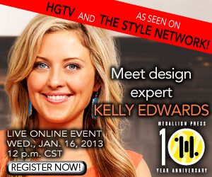 Join Medallion Press tomorrow at 1pm EST to meet the author of The Design Cookbook: Recipes for a Stylish Home, Kelly Edwards. Learn more about the previous Design on a Dime co-host and get some design tips. Register at http://shindig.com/event/kelly-edwards-design-cookbook