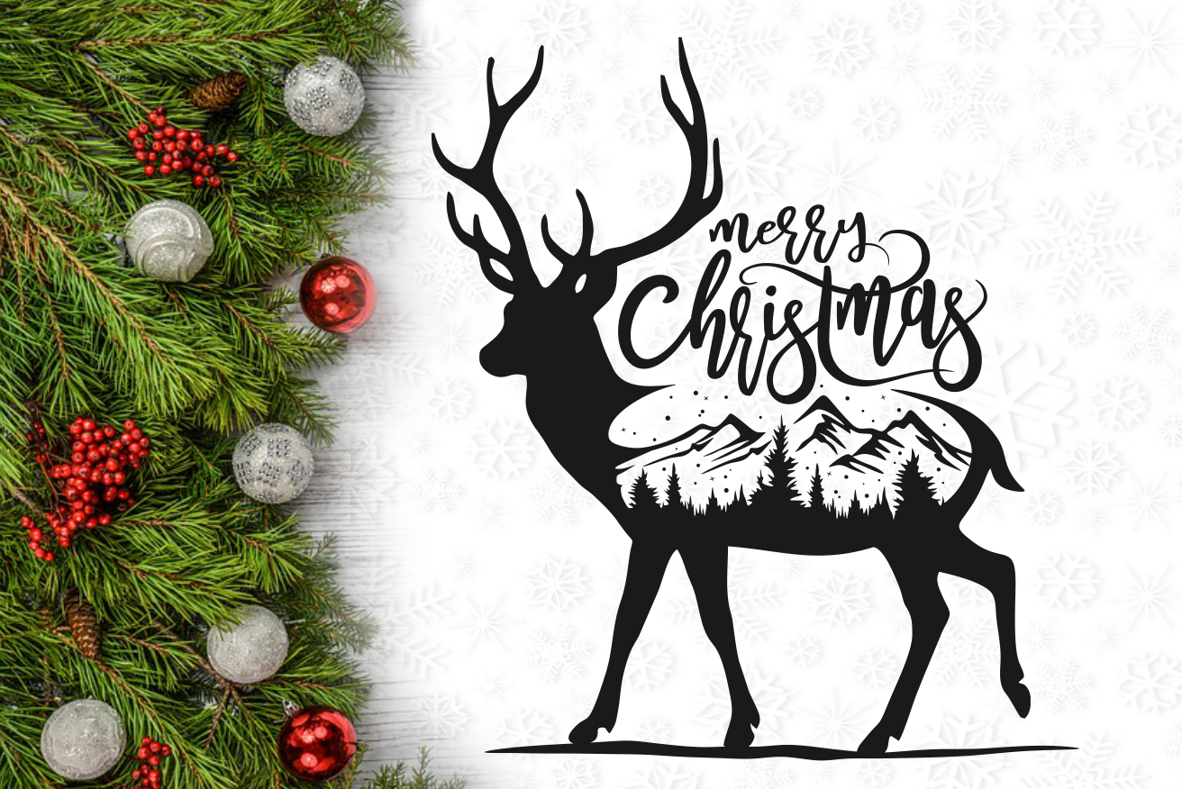 Download Merry Christmas Reindeer Wall Decal Svg Design