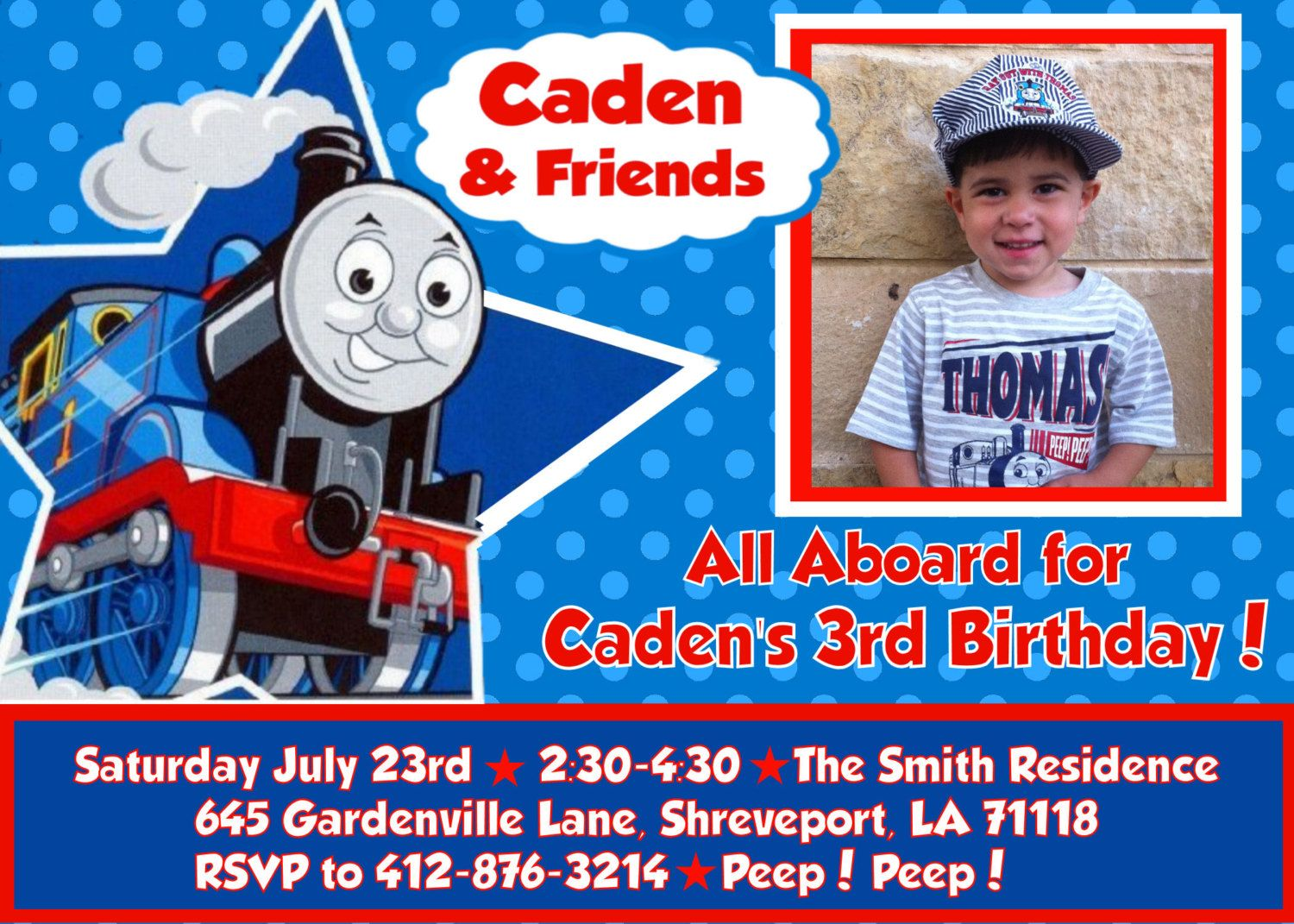 Free FREE Template Personalized Thomas The Train Birthday Invitations