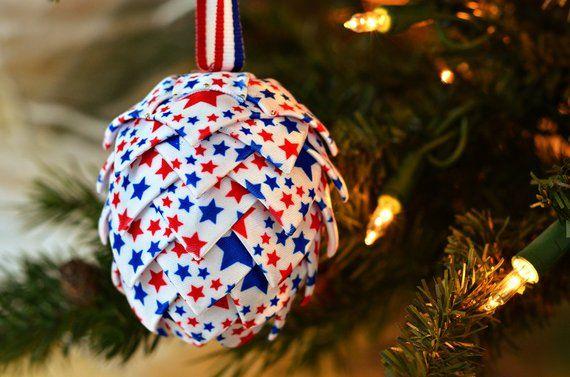 Patriotic Christmas Ornament Red White Blue Americana Holiday Tree