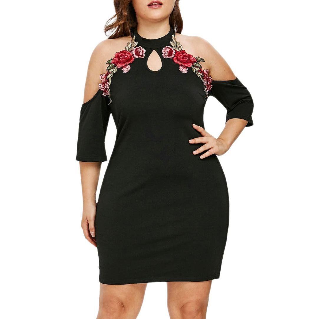 726e74785edc5 Leewos Clearance! Plus Size DressesFashion Women Flower Printed Strapless  Hallow Short Mini Dress Black 2XL