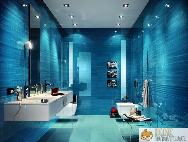 Superieur A Beautiful Ocean Blue Bathroom   Modern Blue Bathroom Designs U0026 Ideas.