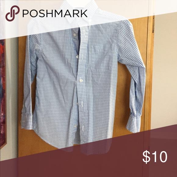 Long sleeve boy button shirt Gingham blue and white checkered dress shirt Shirts & Tops Button Down Shirts