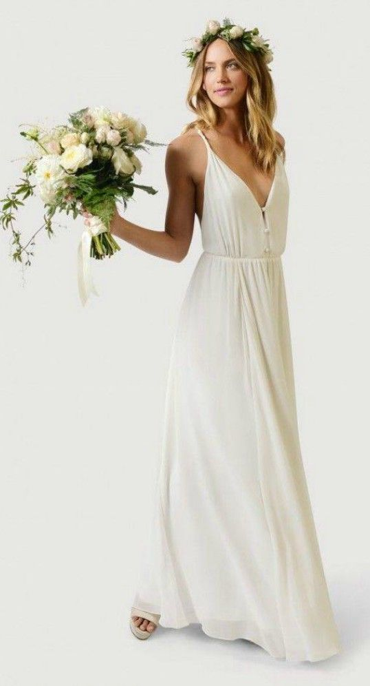 Simple Deep V Chiffon Flowy Beach Wedding Dress | Beach Wedding ...