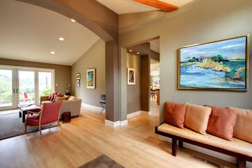Two Story Great Room Wall Colors With Brown Leather Furniture Design Ideas Pictures Remodel