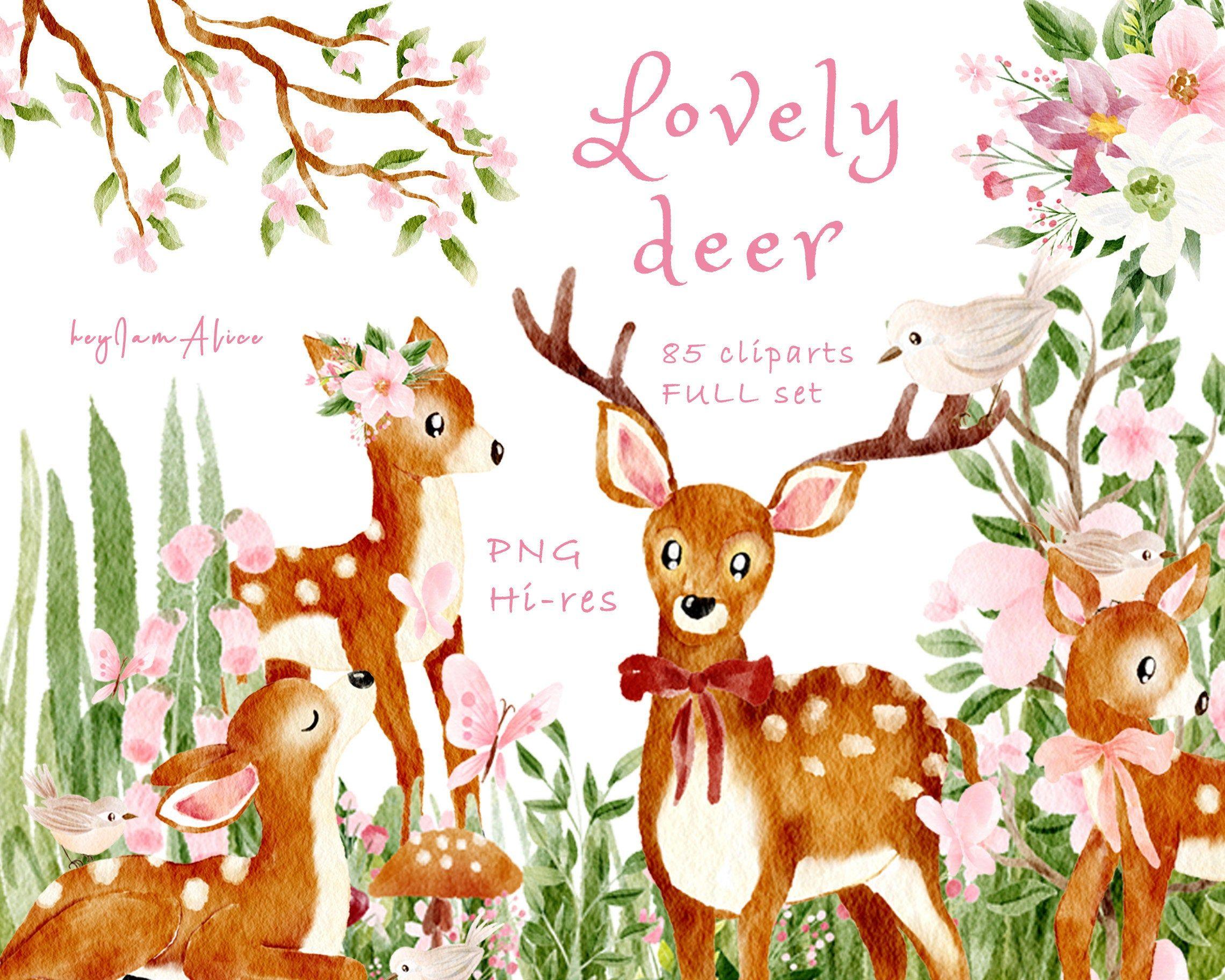 Baby Deer Clipart Pink Watercolor Deer Png Free Commercial Etsy Nursery Art Decor Nursery Art Clip Art