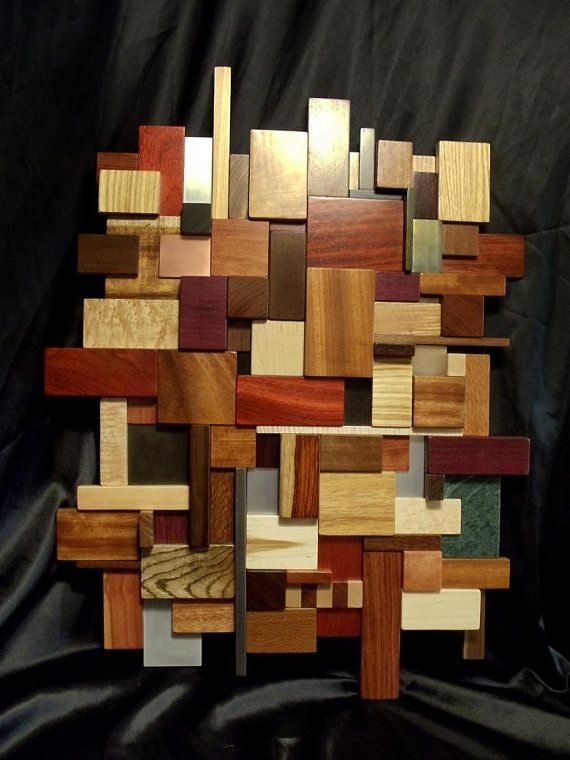3d Wood Metal And Stone Mosaic Wall Art 24 X 30 Ready To Ship