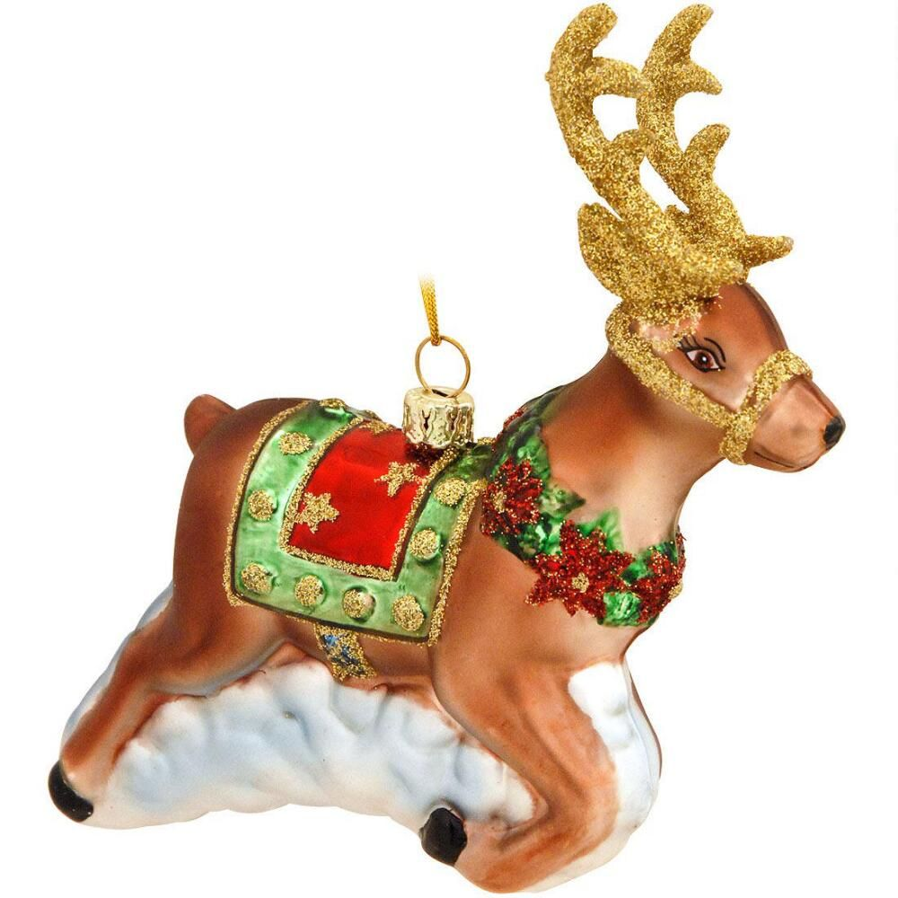 Reindeer with gold antlers glass ornament antlers ornament and glass