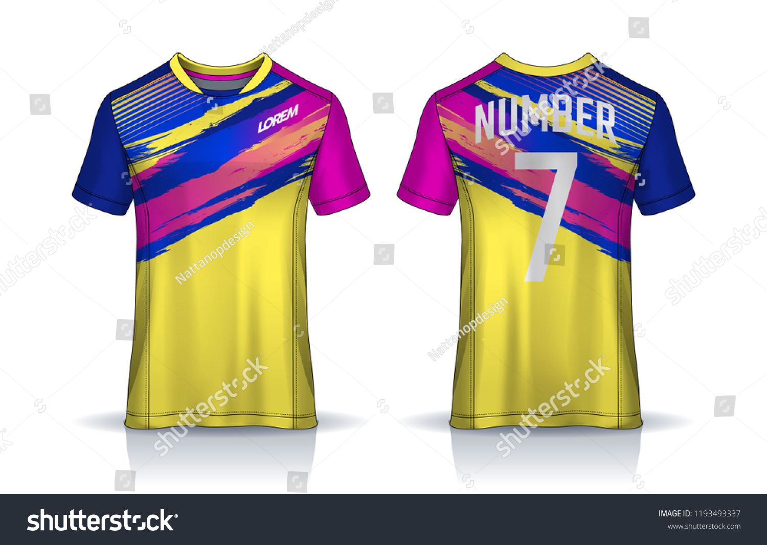 T Shirt Sport Design Template Soccer Jersey Mockup For Football Club Uniform Front And Back View Template Soccer Je Sports Design Jersey Shirt Soccer Jersey