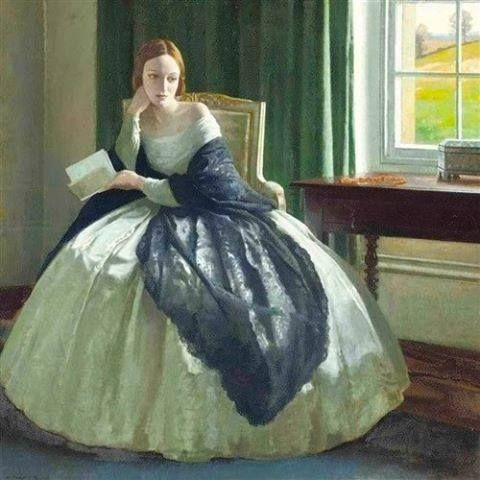 """September 16: """"The love of learning, the sequestered nooks,  And all the sweet serenity of books."""" --Henry Wadsworth Longfellow  Painting by Leonard Campbell Taylor"""