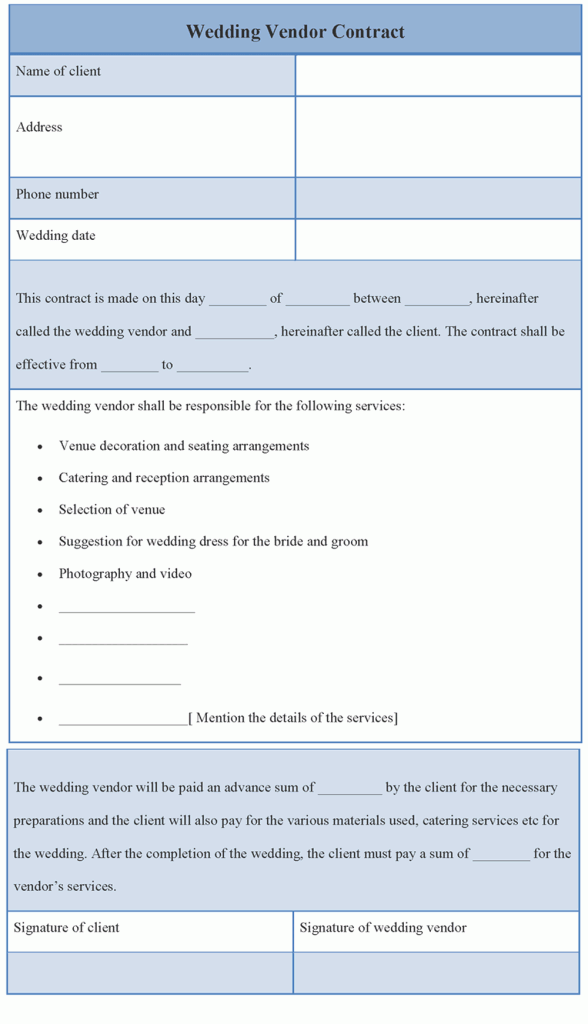 wedding vendor template wedding vendor contract sample templates – Vendors Contract Agreements