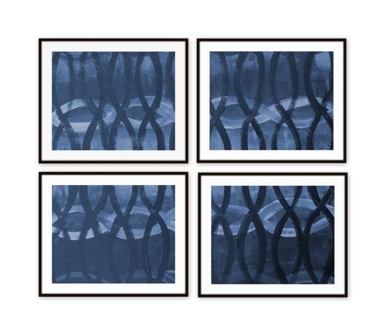 Navy Blue Wall Art abstract navy blue wall art set of 4 light blue modern home decor