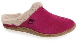 SOREL 'Nakiska' Slipper at Nordstrom. Small stitches accent a cuddly slipper with a fringe of fuzzy faux-shearling lining. Faux shearling and leather upper/polyester faux- shearling lining/rubber sole. By SOREL; imported. BP. Shoes.