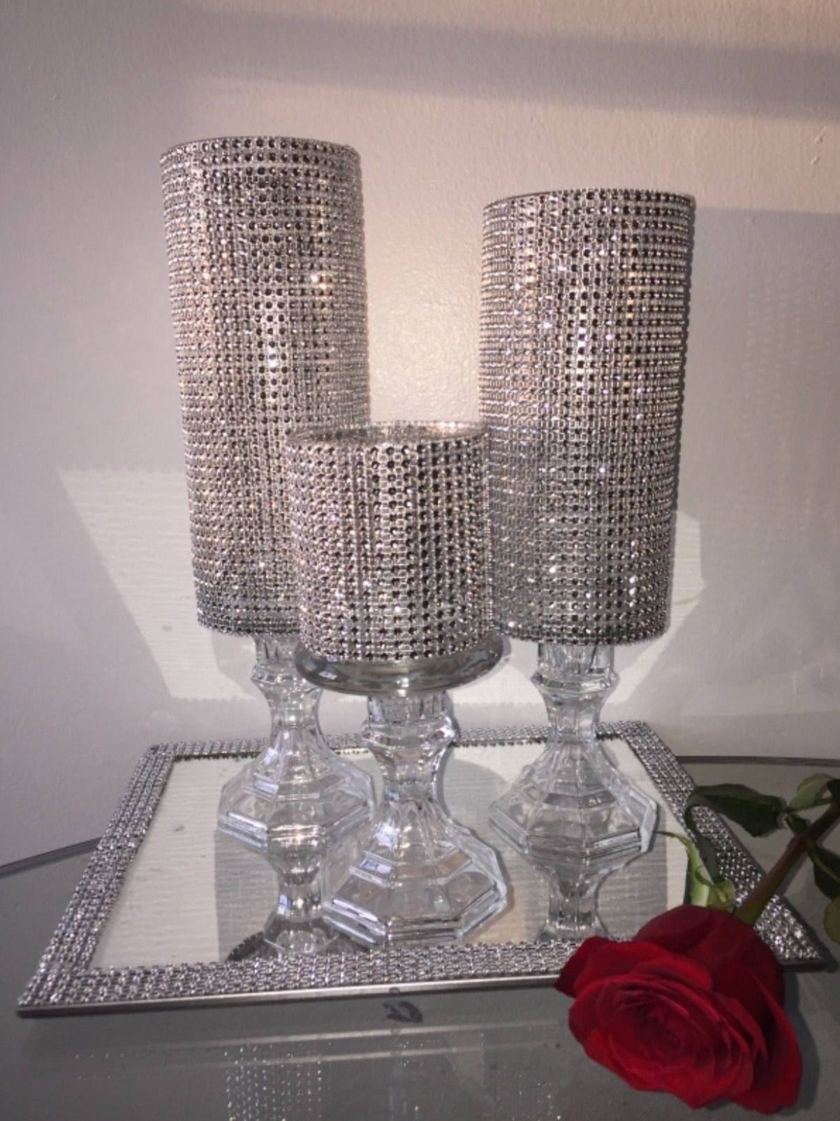 Wedding Centerpiece Three Rhinestone Vase Candle Holder