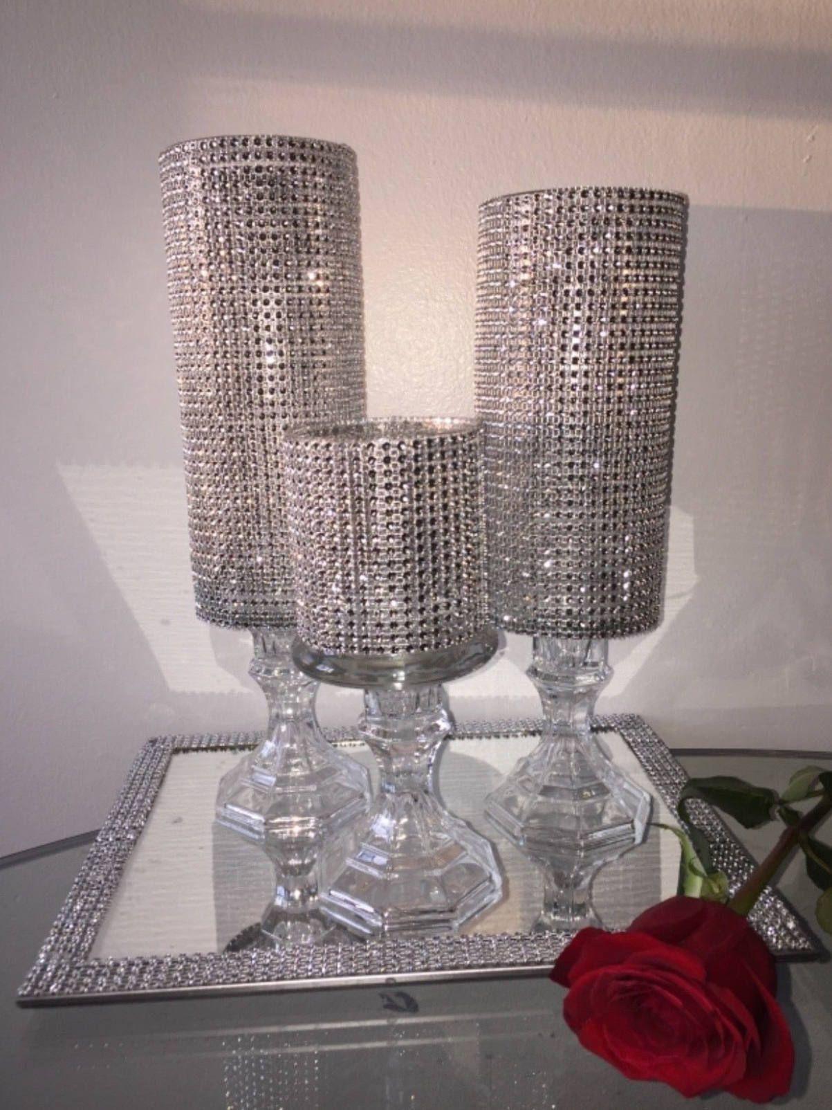 Wedding CenterpieceThree Rhinestone Vasecandle Holder Glass Cylinder Vase Set Centerpiece