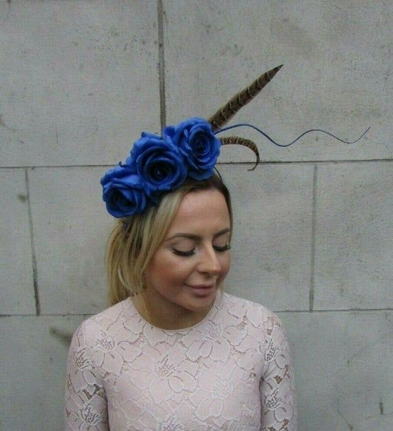 Royal Blue Pheasant Feather Flower Fascinator Headband Headpiece Races Hair 7931