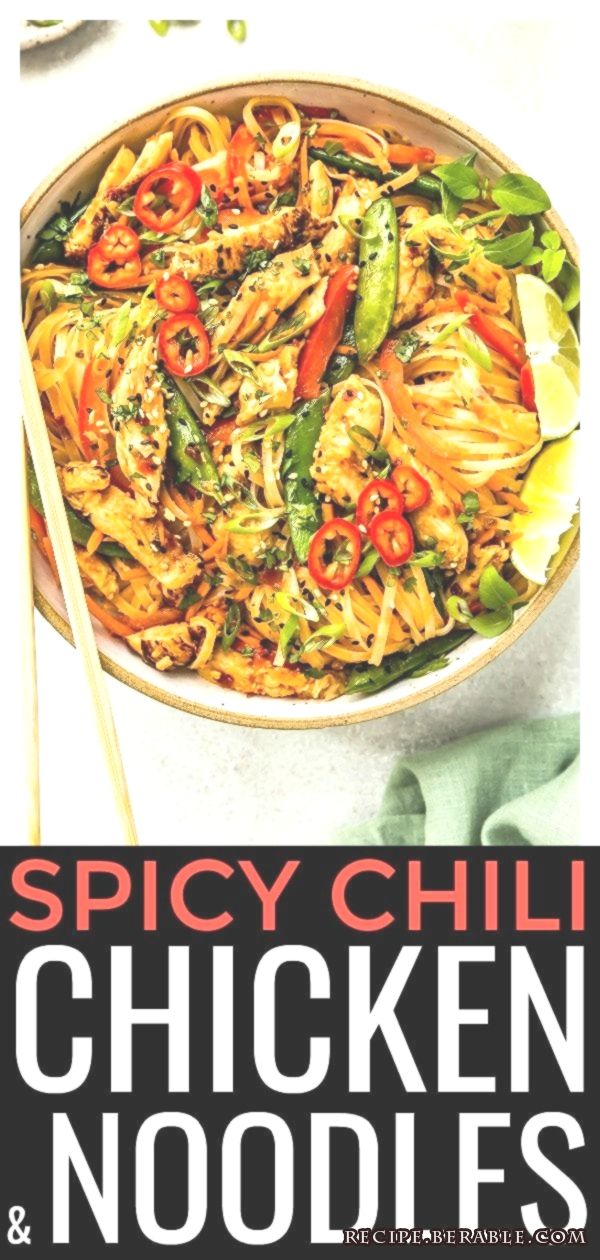 This Thai Spicy Chili Chicken & Noodles is an addictive homemade alternative to ... This Thai Spicy Chili Chicken & Noodles is an addictive homemade alternative to ... This Thai Spicy Chili Chicken & Noodles is an addictive homemade alternative to take out! This stir-fry is easy to prepare & perfect for busy weeknights! -