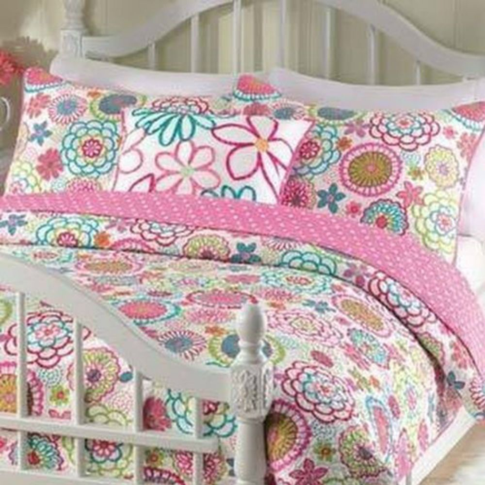 twin quilt set for girls 3piece multi pink teens mariah - Twin Quilts