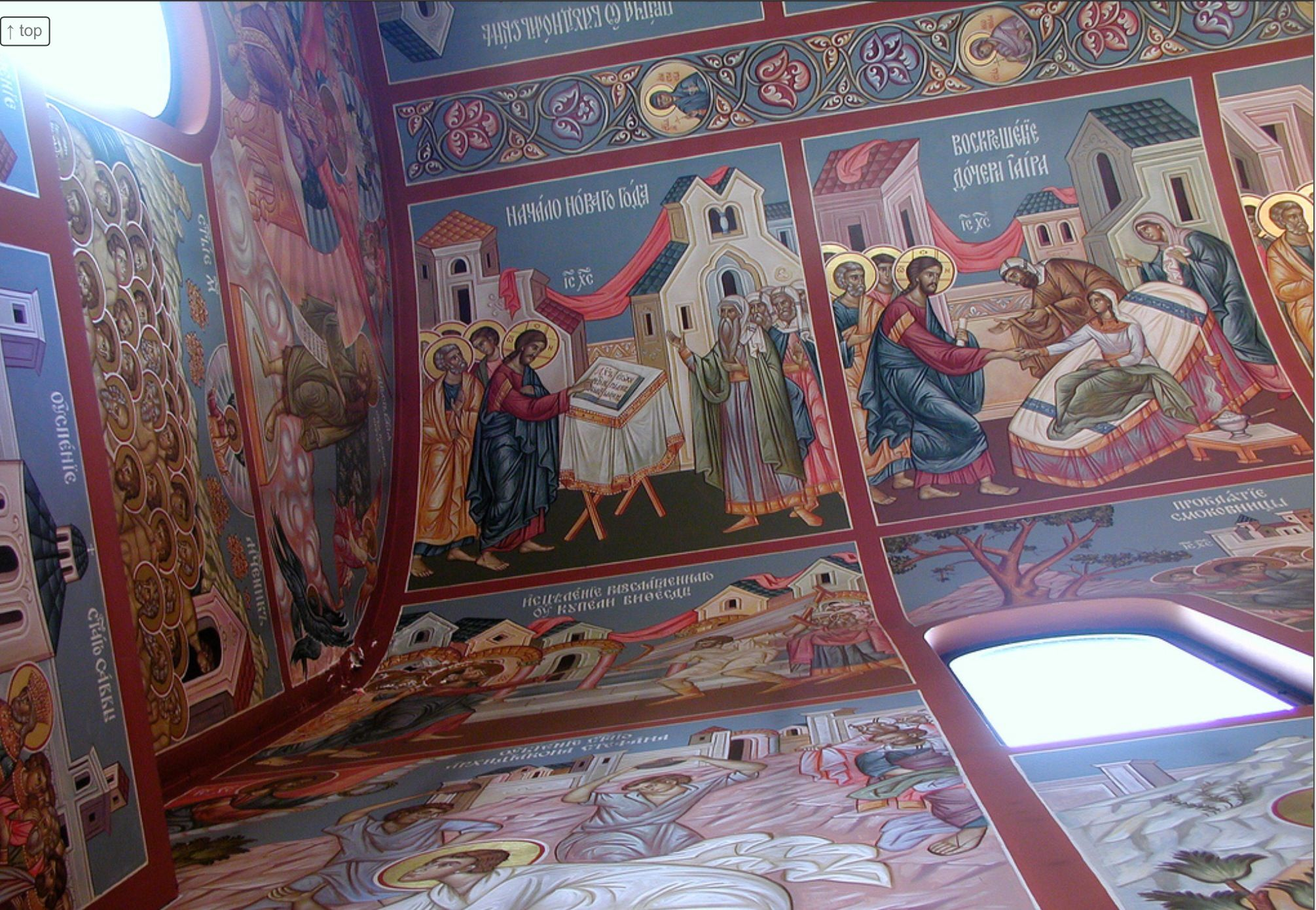 Icon Frescoes On The Ceiling And Walls Of One Of The Alcoves Of The New Gracanica Serbian Orthodox Monastery Church In G Iconography Orthodoxy Eastern Orthodox