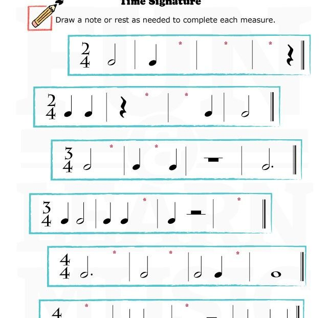 MusicWorksheetsTimeSignature017 – Time Signature Worksheet