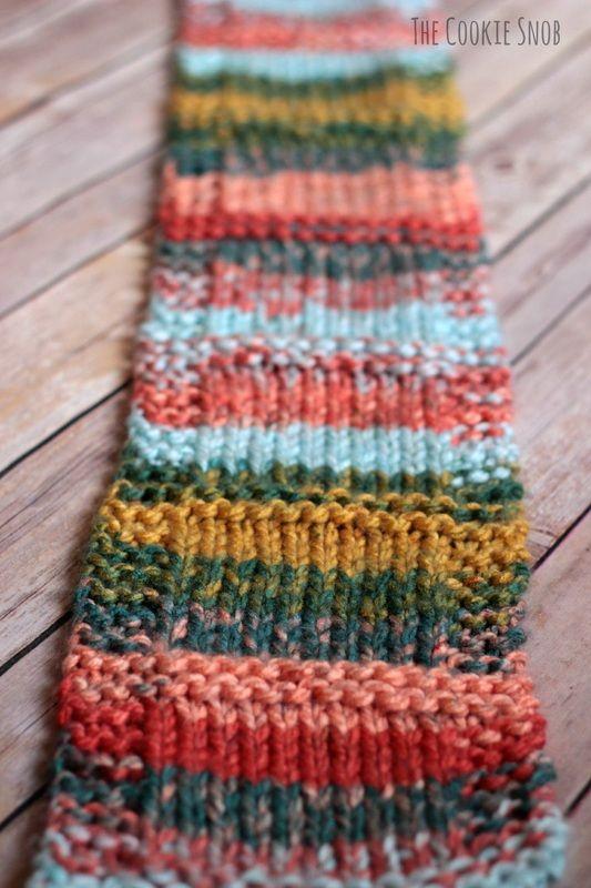 Self-Striping Scarf Free Pattern | Knitting patterns, Yarn ...